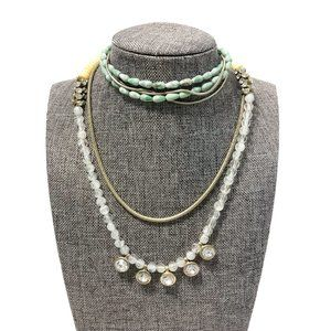Jewelry - Sautoir Long Glass and Silver Tone Necklace